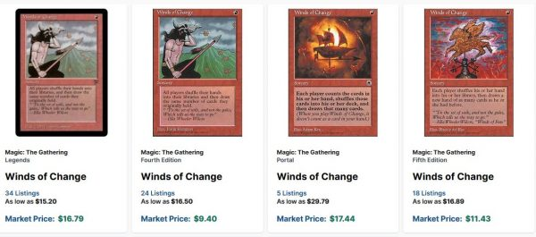 Magic MTG Winds of Change ~ Fourth Edition Excellent