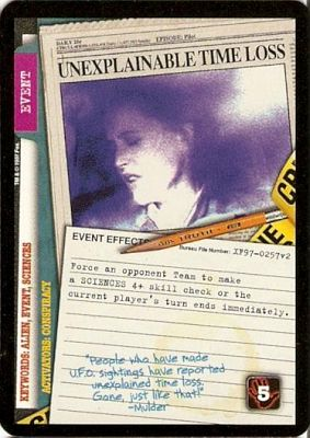 Unexplainable Time Loss Event Card